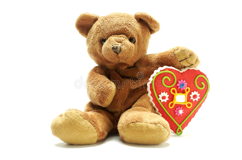 Teddy bear with big sweet heart royalty free stock photo