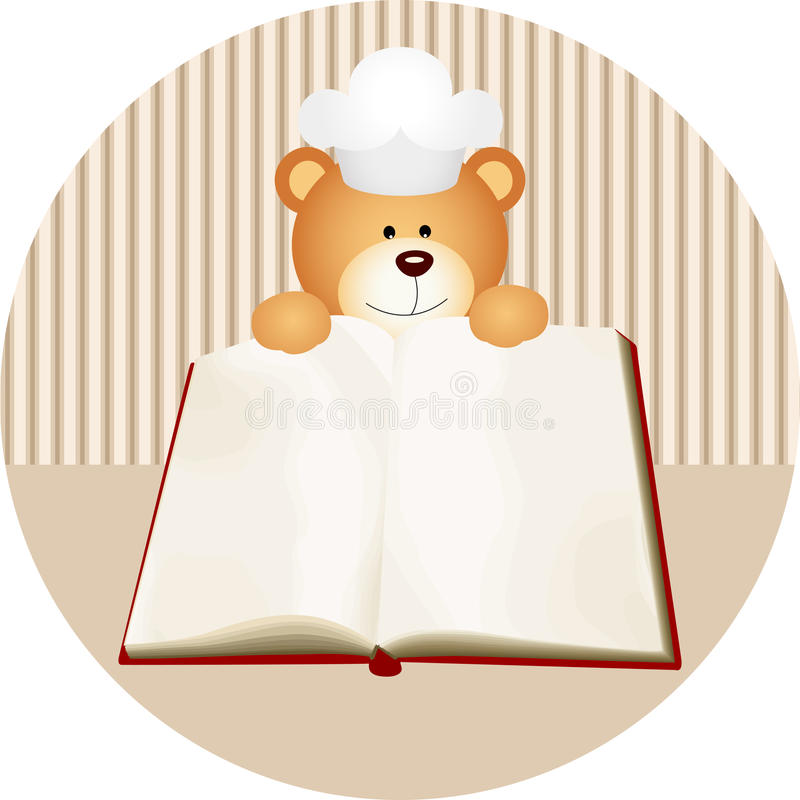 Teddy bear with blank cookbook. Scalable vectorial image representing a teddy bear with blank cookbook, on white royalty free illustration