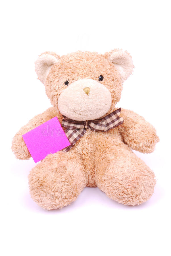 Teddy Bear With Blank Note Stock Image
