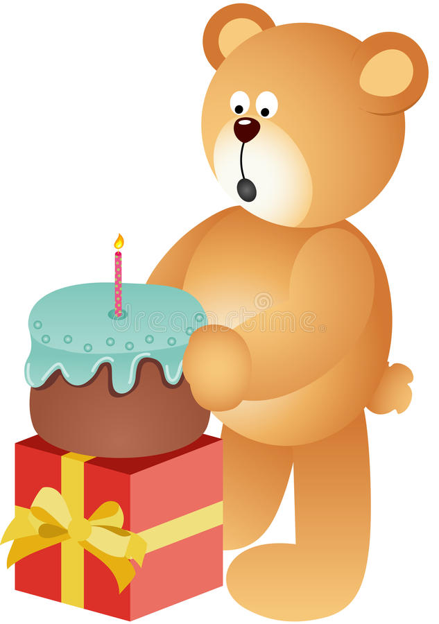 Teddy bear blowing out candle stock illustration