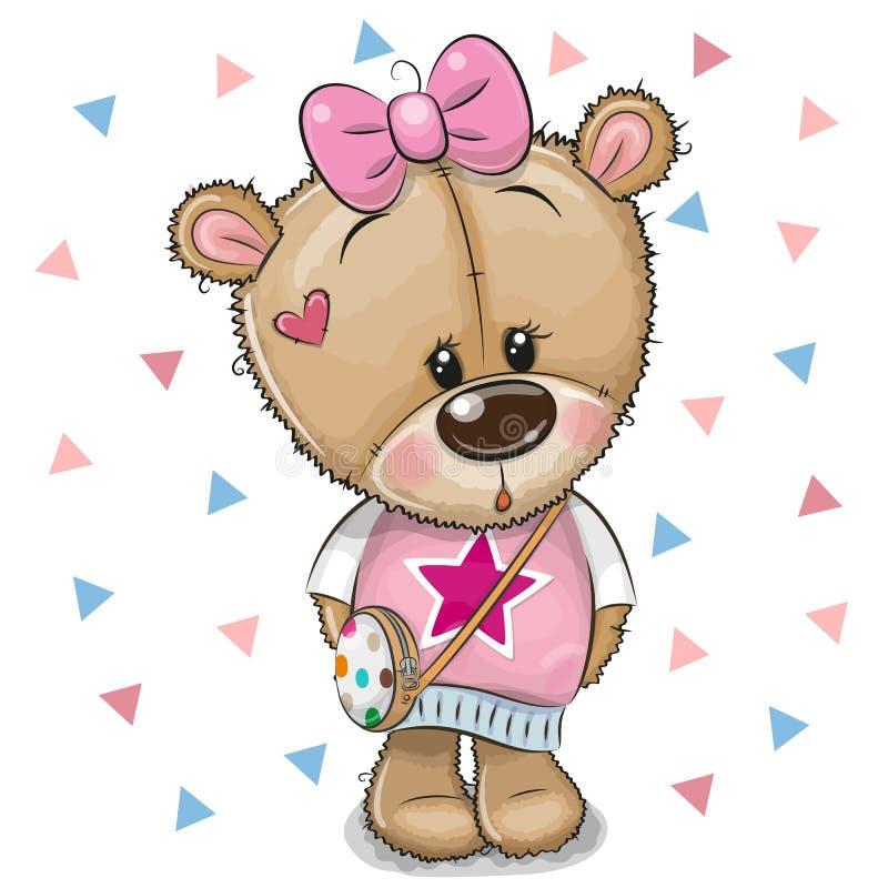 Teddy Bear bonito com uma curva em um fundo branco ilustração royalty free