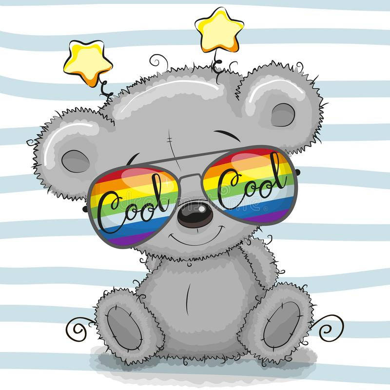Teddy Bear bonito com vidros de sol ilustração royalty free