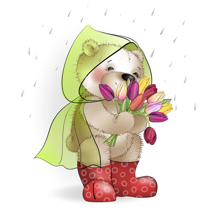 Teddy bear with a bouquet of tulips standing in the rain1. Bear with a bouquet of tulips standing in the rain stock illustration