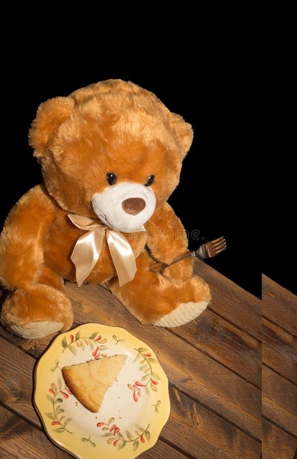 Teddy Bear Cake and Fork High stock image