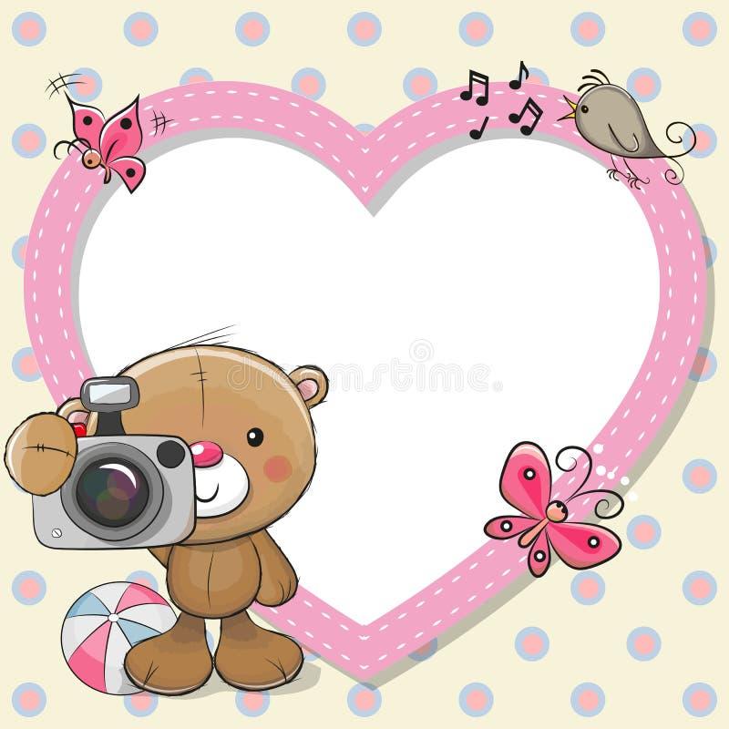 Teddy Bear with a camera and a heart frame vector illustration