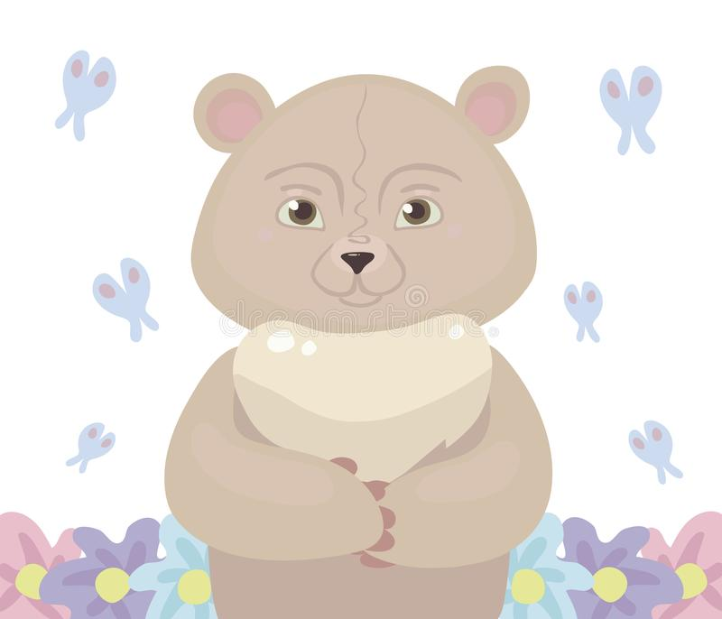 Teddy bear cartoon pink light color stands in the center, around fly a blue butterfly and grow flowers isolated on white backgroun stock illustration