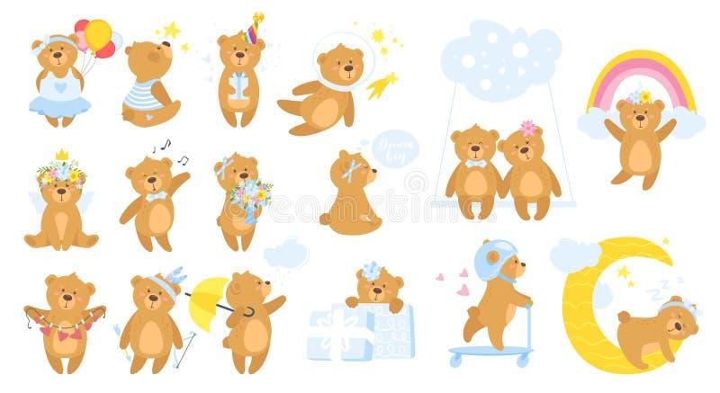Teddy bear cartoon set. vector illustration