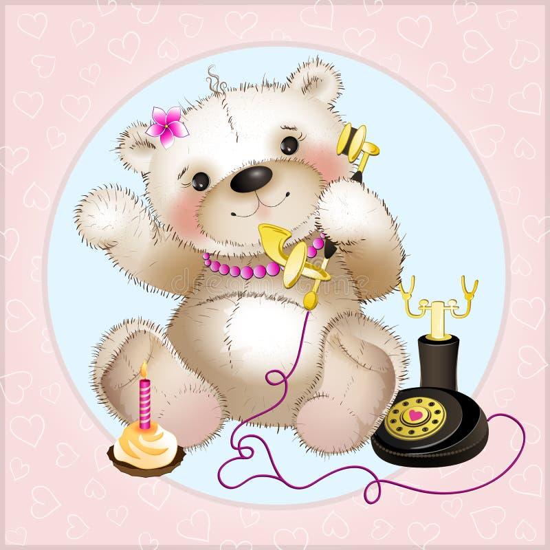 Teddy Bear che parla sul telefono illustrazione di stock