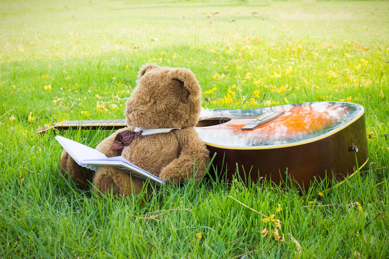 Teddy bear on classical guitar on field. royalty free stock images