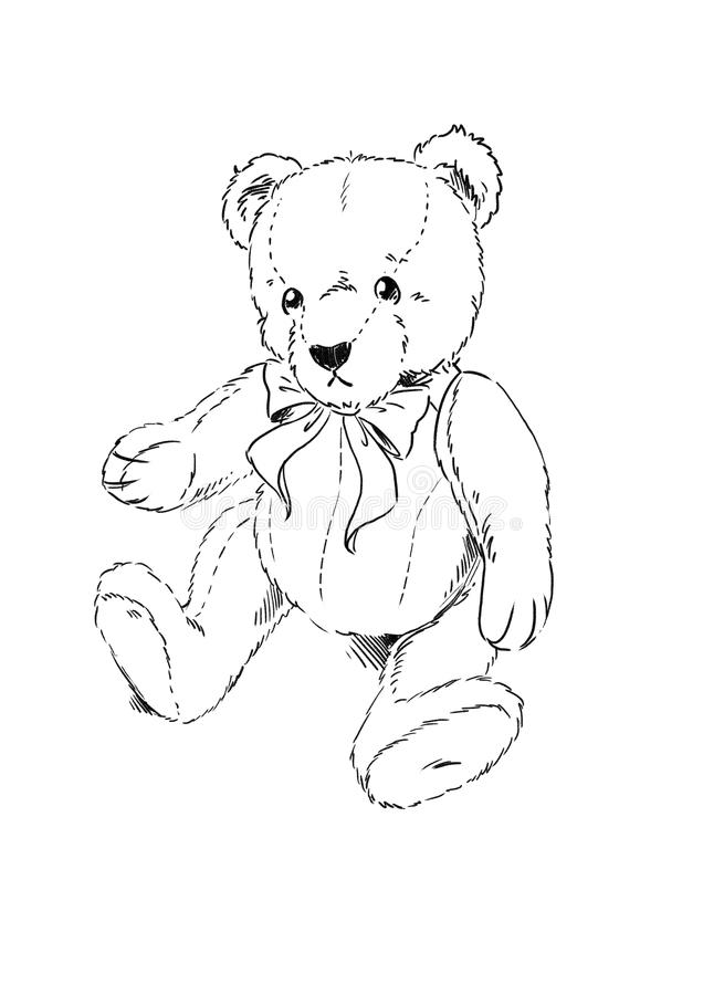 Teddy bear coloring page stock illustration. Illustration of bear ...