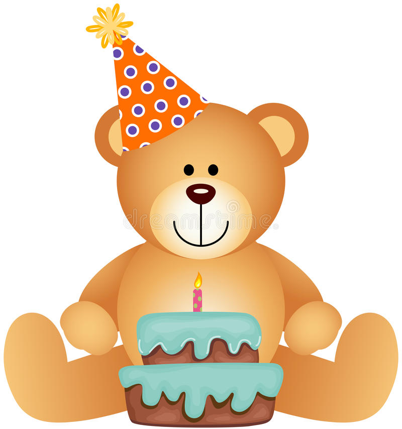 Teddy Bear com bolo de aniversário ilustração royalty free