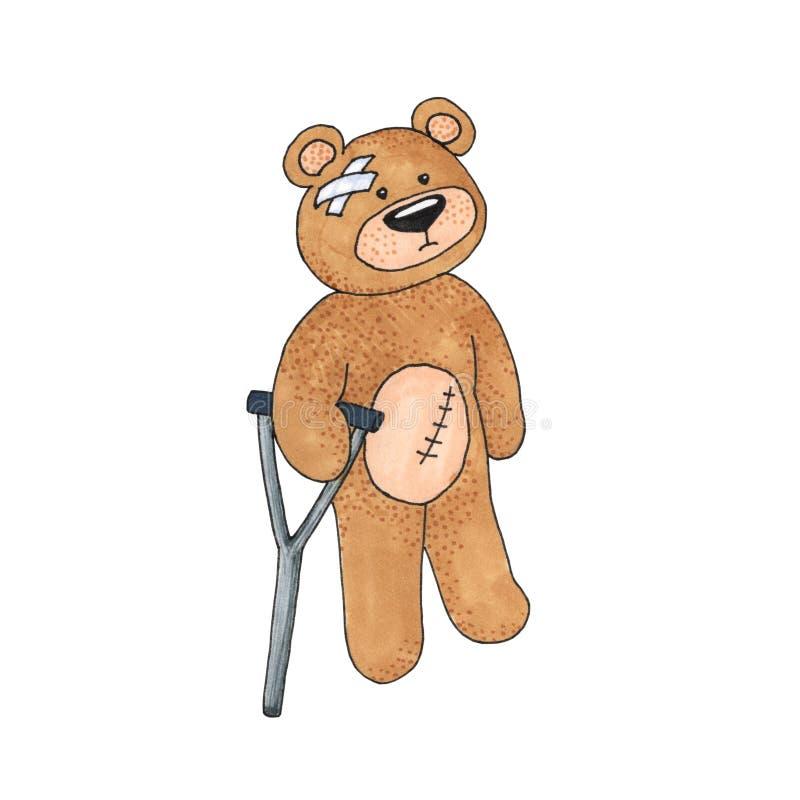 Teddy Bear con la gruccia e l'incisione isolate su bianco, giocattolo di Teddy Bear è concetto malato e handicappato della gente illustrazione vettoriale