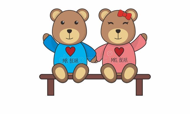 Teddy Bear Couple bonito senta-se no vetor do bech ilustração royalty free