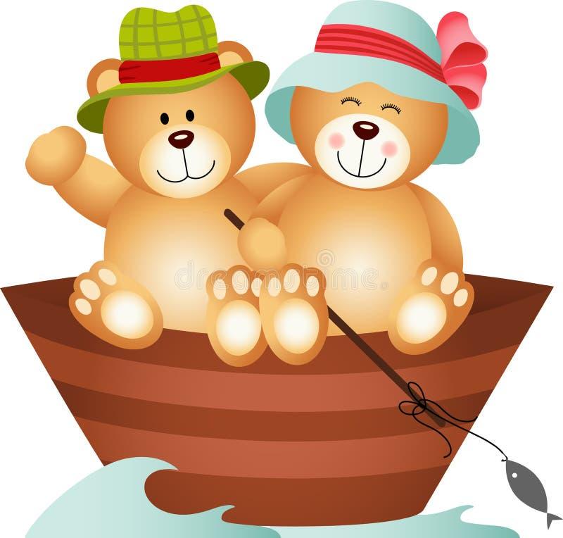 Teddy Bear Couple em um barco ilustração do vetor