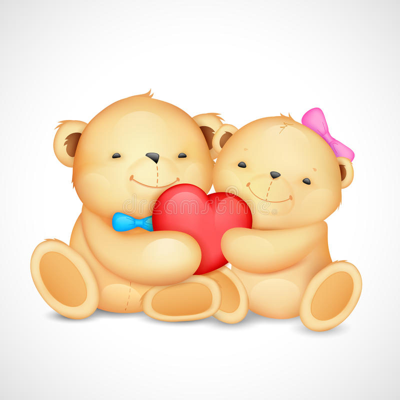 Teddy Bear Couple hugging heart royalty free illustration