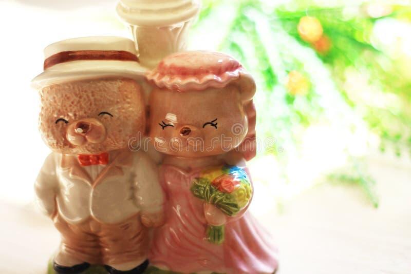 Wedding Ceramic Bear. Teddy Bear Cute Ceramic Wedding royalty free stock photography