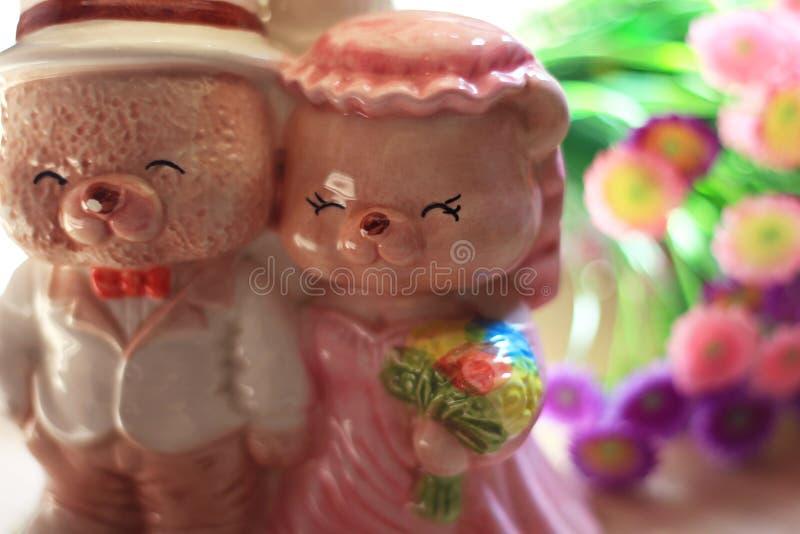 Wedding Ceramic Bear. Teddy Bear Cute Ceramic Wedding stock photos