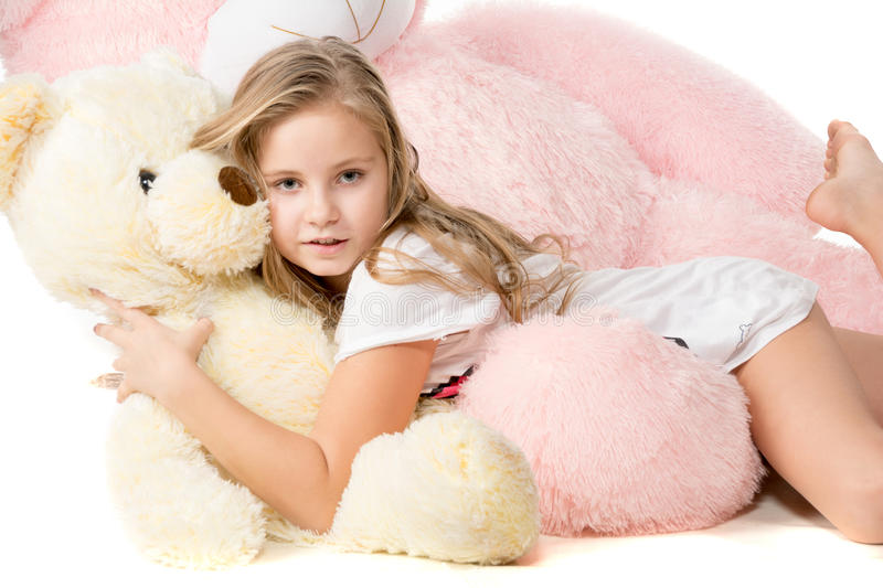 With A Teddy Bear Stock Photo - Image: 51978899Little Girl With Teddy Bear Black And White