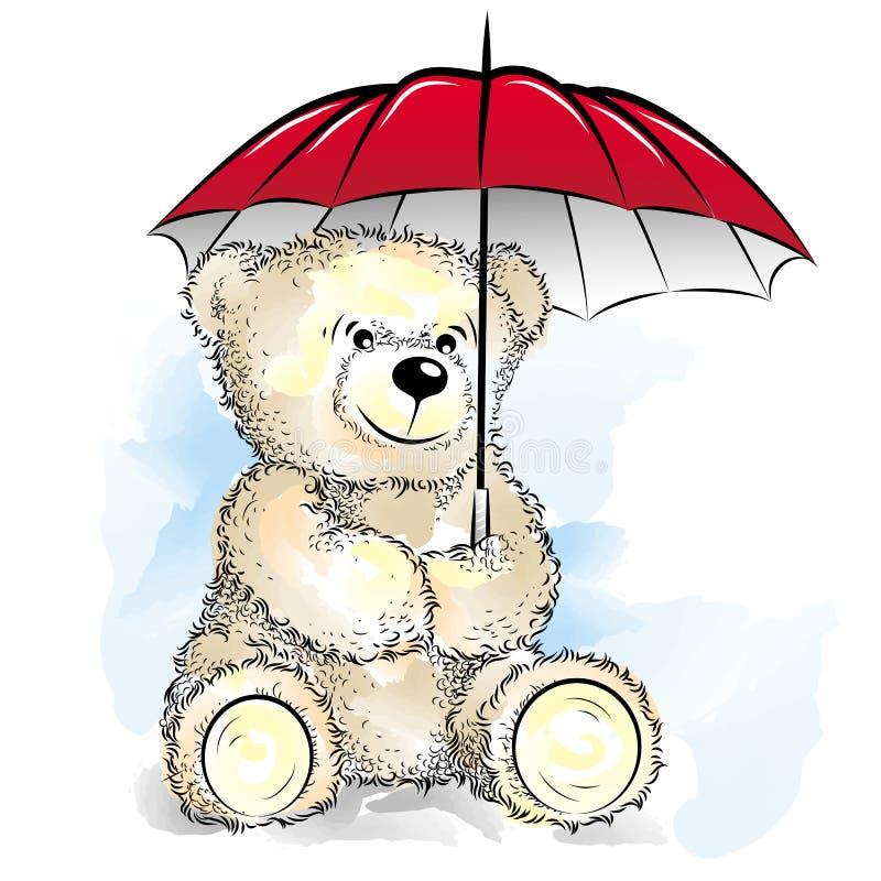 Teddy Bear de tiragem com guarda-chuva ilustração do vetor