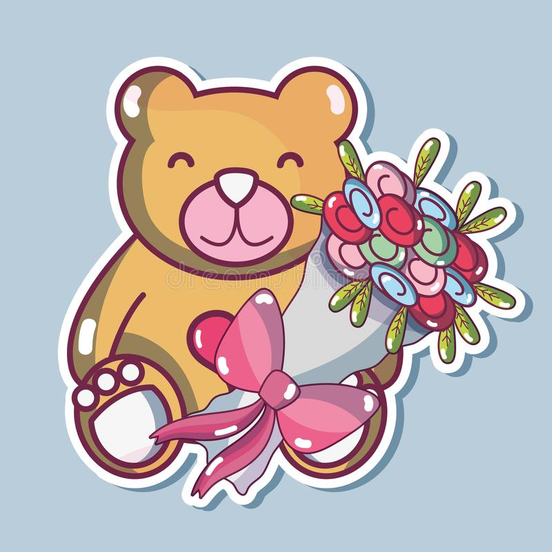 Teddy bear design with bouquet flowers stock illustration