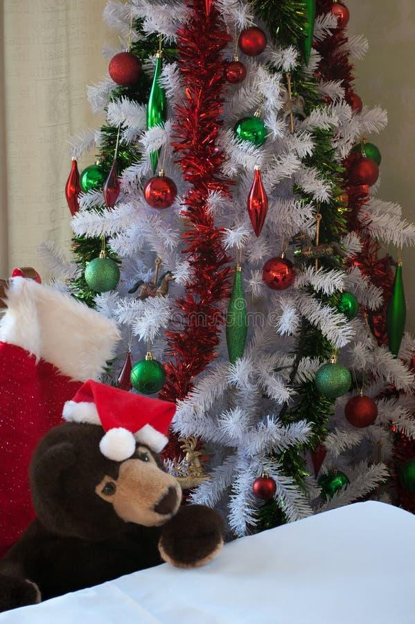 Teddy Bear die op Kerstmis wachten royalty-vrije stock afbeelding