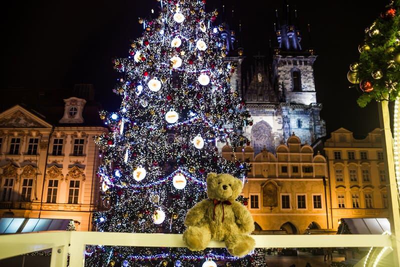 Teddy bear Dranik on Christmas market. In Oldtown square Prague stock photo
