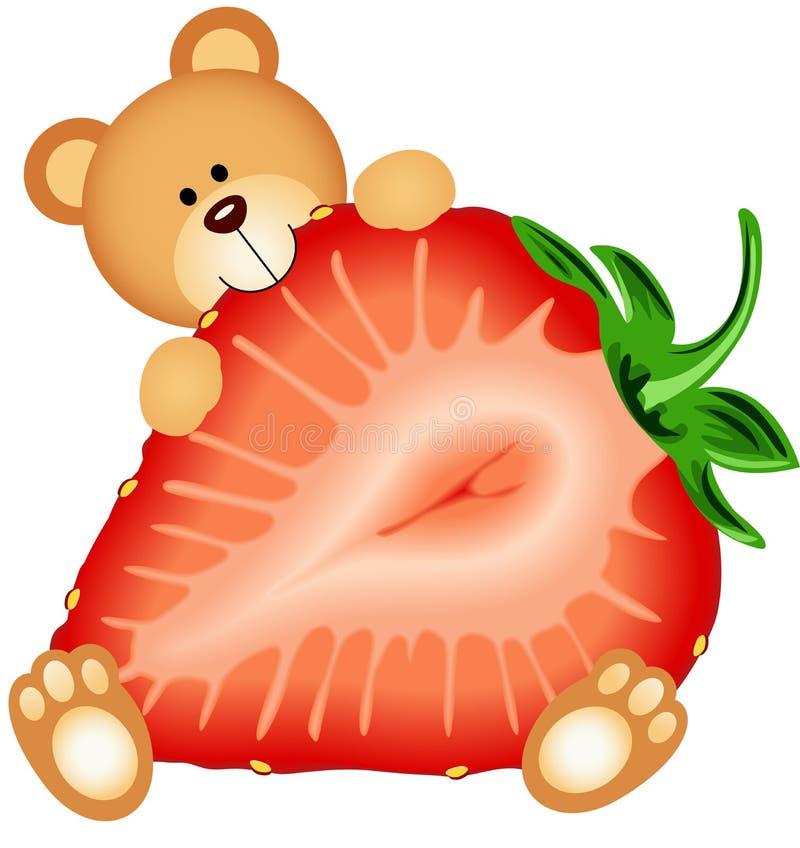 Teddy Bear Eating Strawberry Sliced ilustração stock