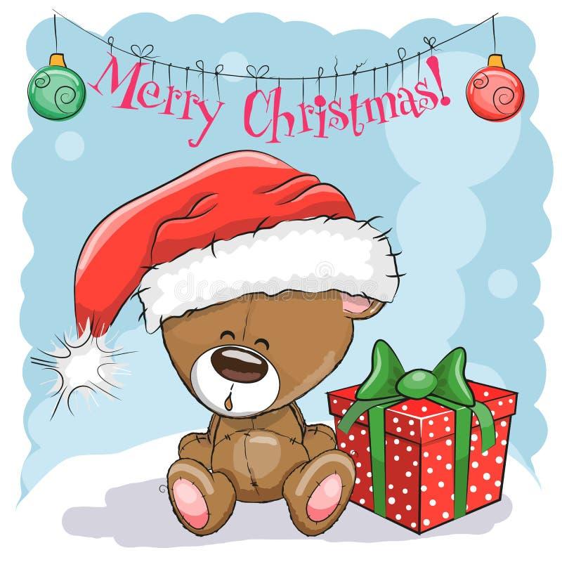 Teddy Bear em um chapéu de Santa ilustração do vetor