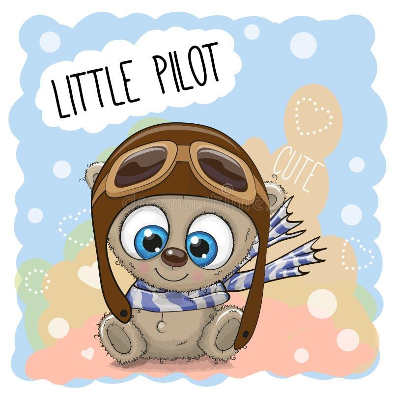 Teddy Bear em um chapéu piloto ilustração do vetor