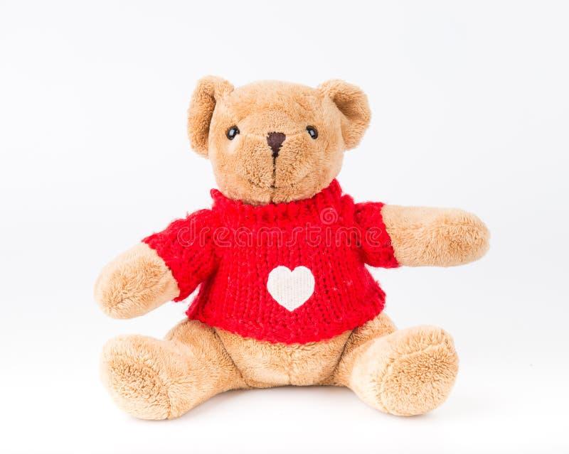 Teddy Bear en fondo del aislante piso agradable b del amor del arte lindo del arco imagen de archivo