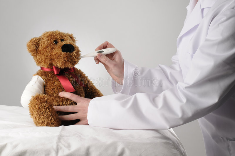 Teddy bear examination stock photos