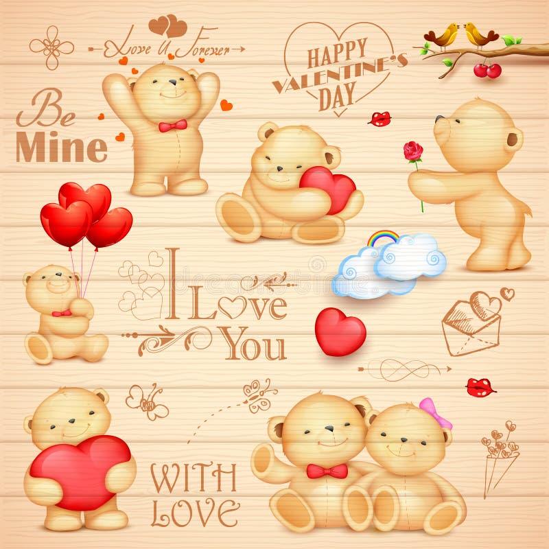 Teddy Bear för förälskelsebakgrund stock illustrationer