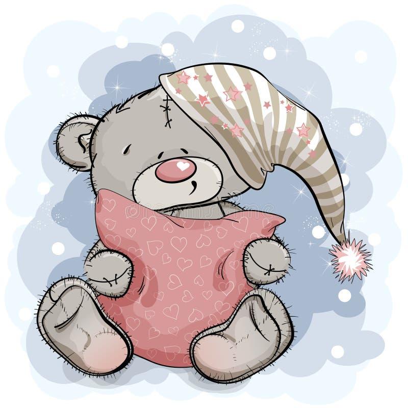 Teddy Bear feliz que abraza una almohada libre illustration