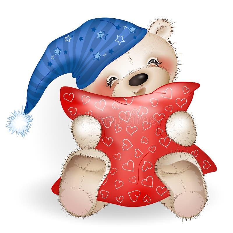 Teddy Bear feliz que abraza una almohada 2 stock de ilustración