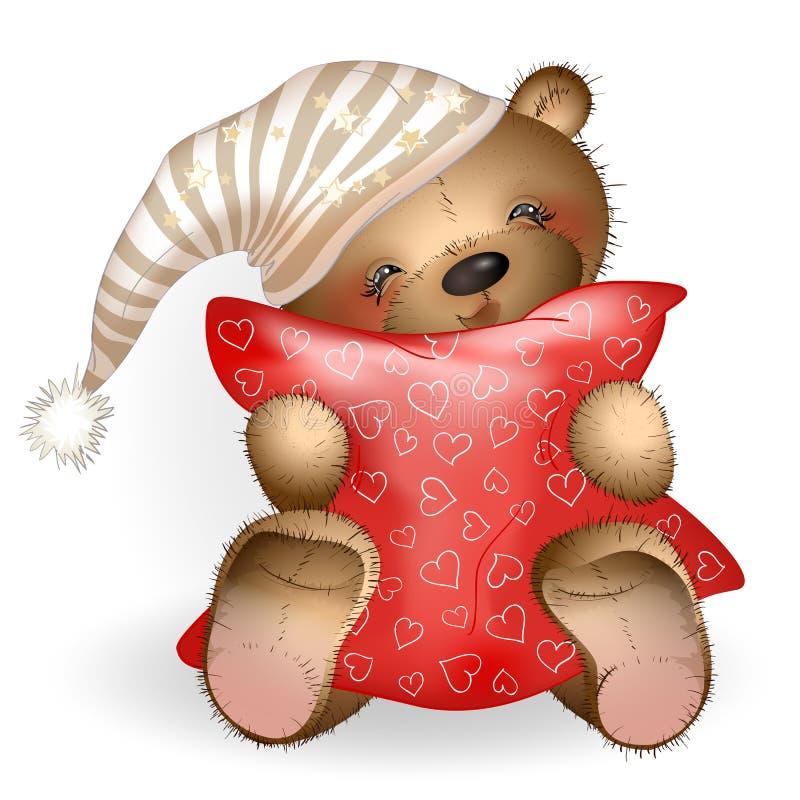 Teddy Bear feliz que abraza una almohada 5 libre illustration