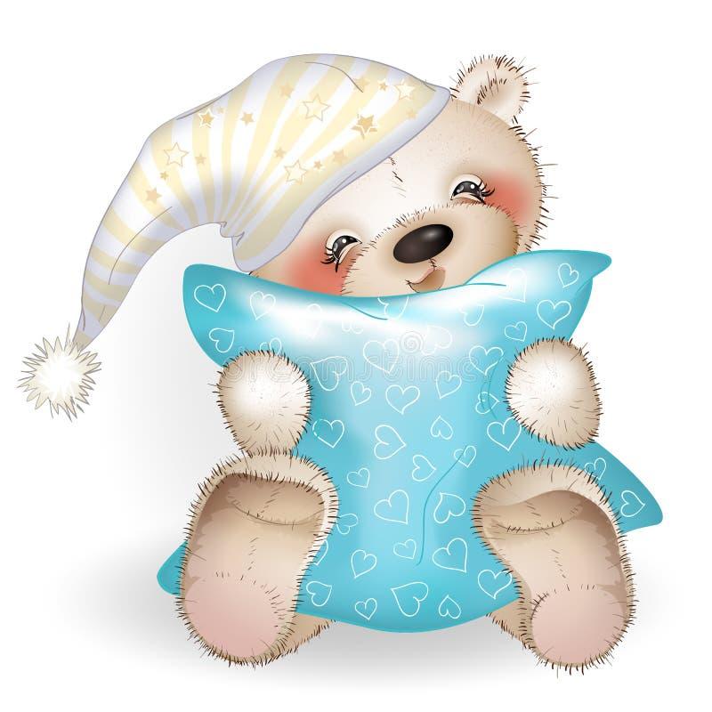 Teddy Bear feliz que abraza una almohada 6 libre illustration