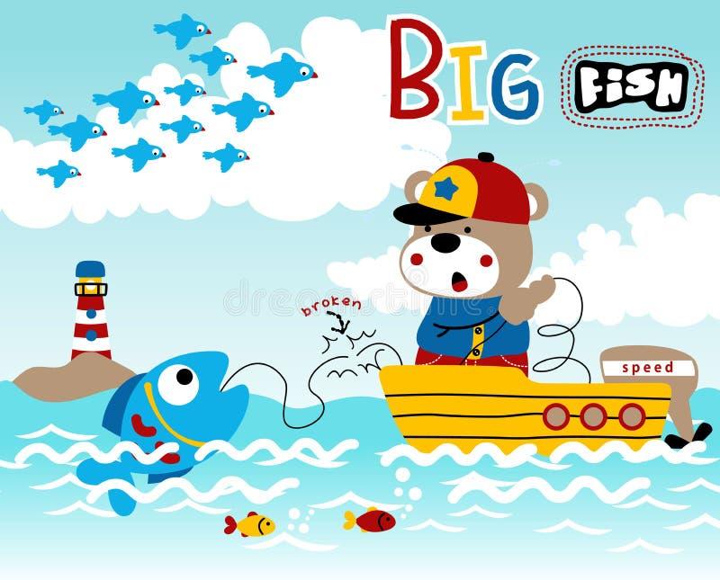 Teddy bear fishing on fishing boat stock illustration