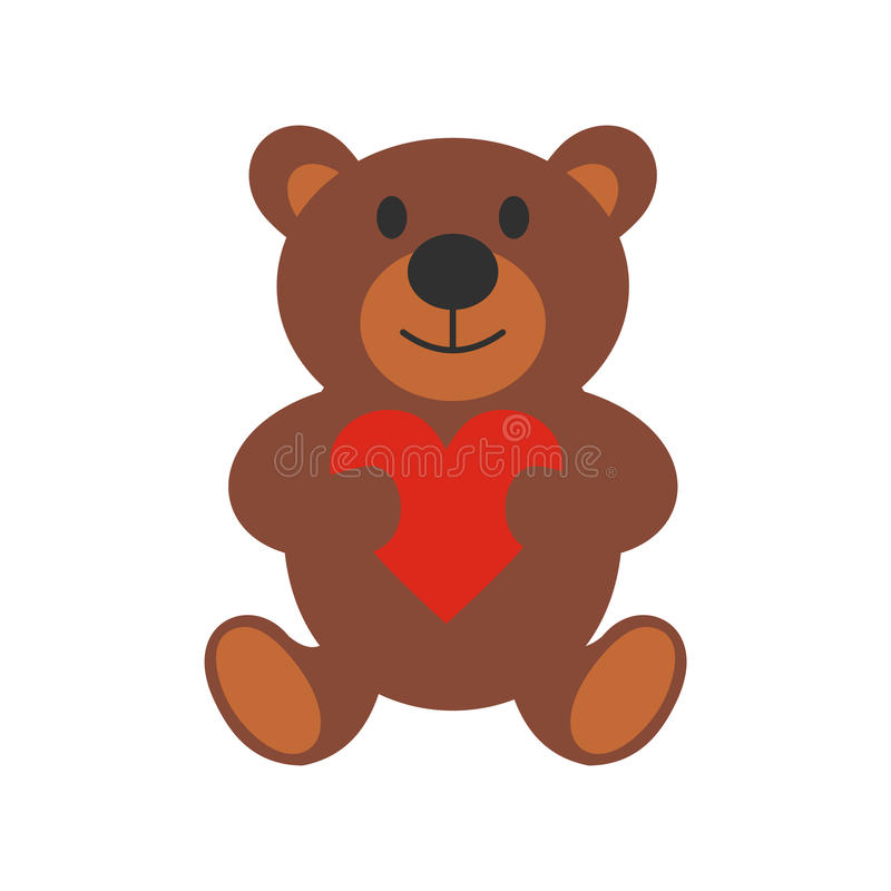 Teddy bear flat icon vector illustration