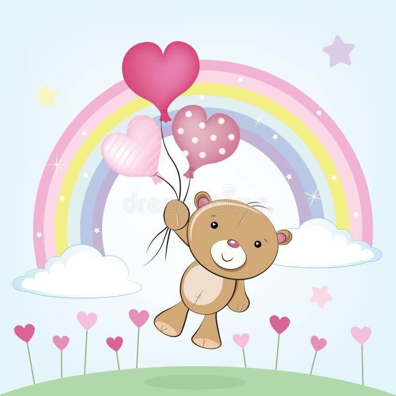 Teddy Bear fliegt mit Ballon-Vektorillustration des Herzens geformter vektor abbildung