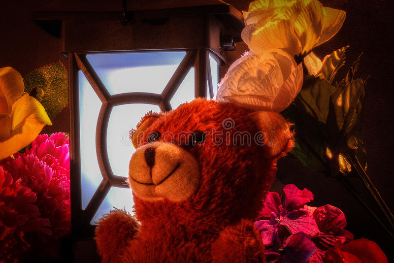 Teddy bear with flowers and light. royalty free stock photography