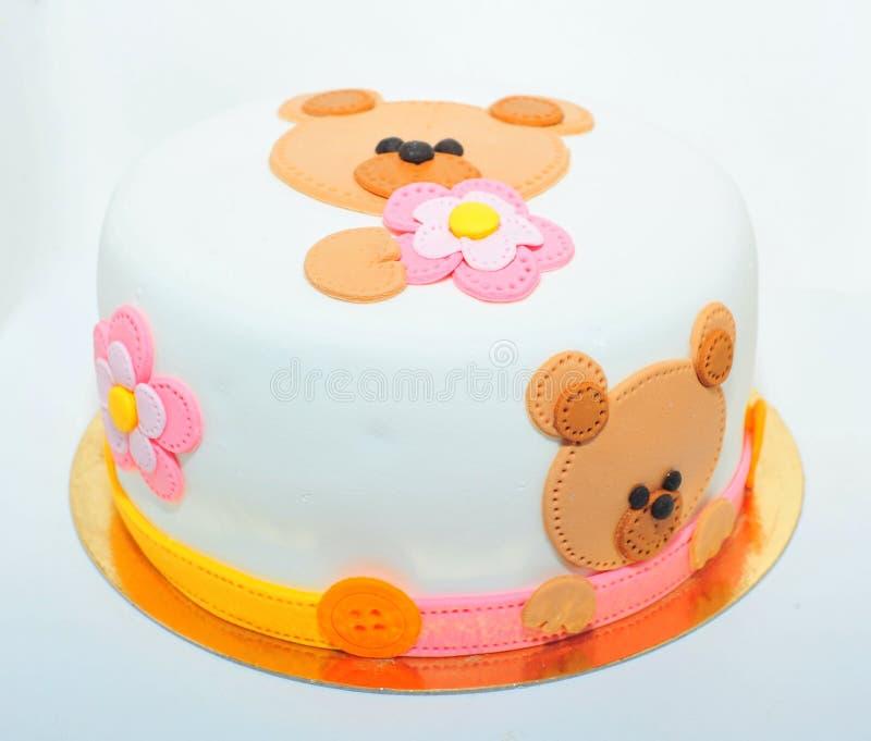Teddy bear fondant cake stock image
