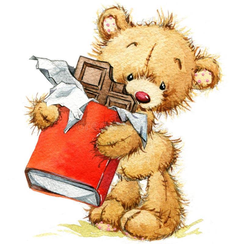 Teddy Bear fondo para las tarjetas de felicitaciones illustrat de la acuarela ilustración del vector