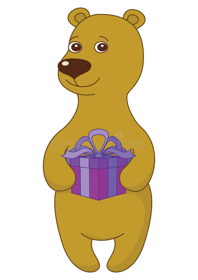 Teddy bear with gift box royalty free illustration