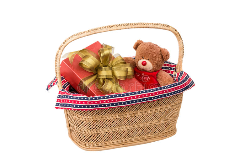 Teddy Bear In Basket Stock Image Image Of Holiday