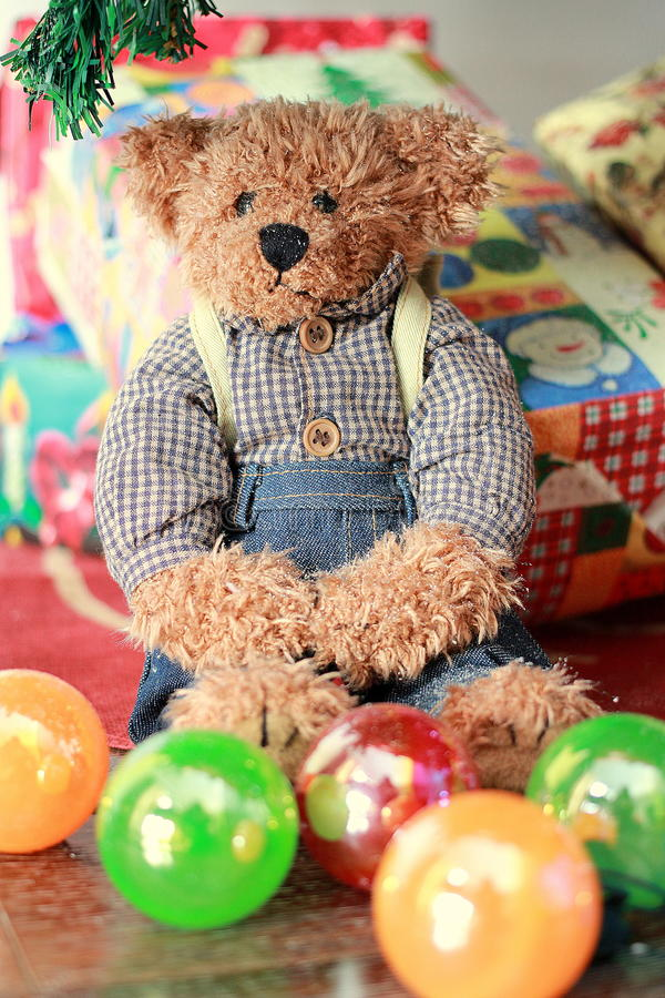 Teddy bear with gift box stock photo