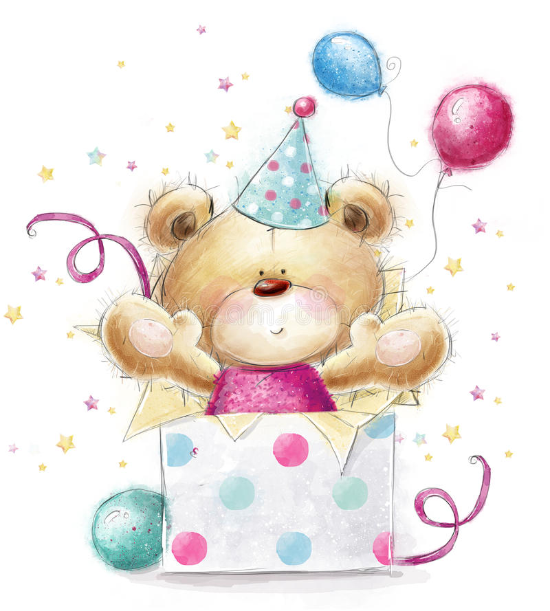 Teddy bear with the gift.Happy Birthday card royalty free illustration