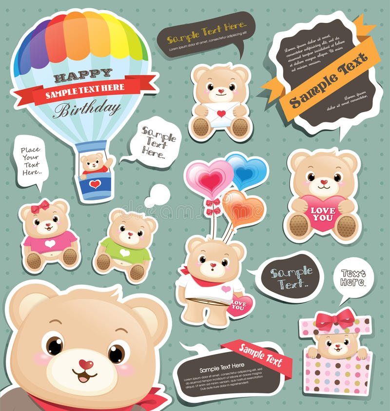 Download Teddy bear gift tag/labels stock vector. Image of greeting - 23849330