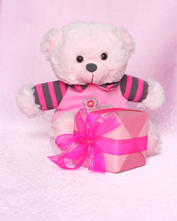 Teddy Bear with gift - Valentines Day Stock Photos stock images
