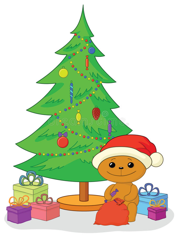 Download Teddy Bear, Gifts And Christmas Tree Stock Vector - Image: 26233182