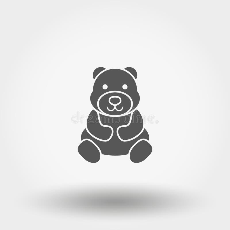 Teddy Bear giocattolo icona Vettore Siluetta piano illustrazione vettoriale